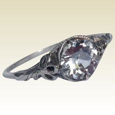 Vintage Sterling Silver Filigree Paste Solitaire Ring