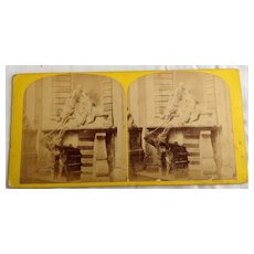 1871 Stereo Photography Stereo View Card 91 Westminster Abbey The Nightingale Tomb