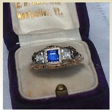 Art Deco 14K White Gold  Filigree Sapphire Diamond Ring