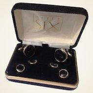 Black Onyx Tuxedo Set In Original Box Gold Filled