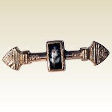 Vintage Gold Filled  Black Onyx Floral Brooch/pin