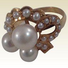 Vintage 14 K Gold Cultured Pearl Ring