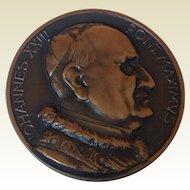 Vintage Catholic Large Bronze Tone Pope John XXIII Metal