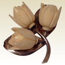 Vintage Silver Tone Bone Floral Brooch