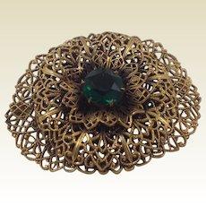Czech Filigree Gilded Brass Emerald Green Glass Brooch