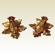 Vintage Gold Tone Metal Leaf Motif Clip Earrings