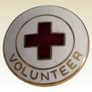 Vintage Gold Filled White Enamel Red Cross Volunteer Pin