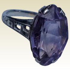 Vintage 14 K White Gold Filigree Amethyst Ring