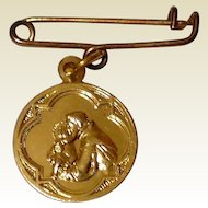 Vintage Gold Tone Metal St. Anthony Of Padua Medal