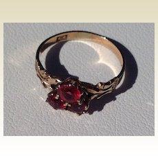 Victorian 10 K Gold Red Tourmaline Ring