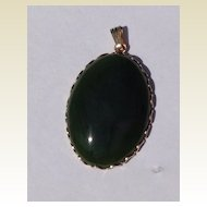 Vintage Gold Tone Metal Faux Jade Pendant