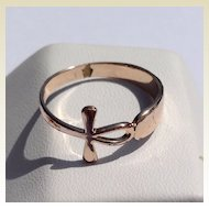 Vintage Gold Tone Metal Cross Ring