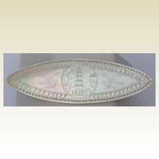 Antique Chinese Engraved Mother Of Pearl Gaming Chip Token