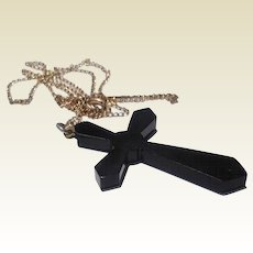 Victorian Jet Mourning Cross & Chain