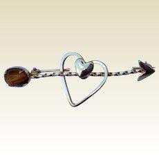 Vintage  Gold Filled Heart & Arrow Brooch