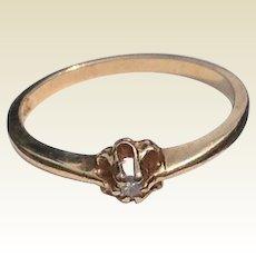Art Deco 14 K Gold Diamond Promise Engagement Ring