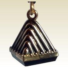 Vintage Two Tone Gold Filled Black Onyx Warrior Intaglio Watch Fob Charm