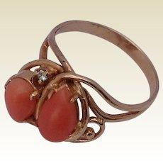 Retro 14 K Gold Coral & Diamond Ring
