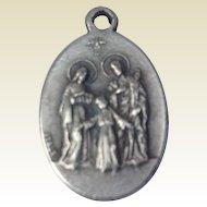 Vintage Italian Silver Tone Saint Anne Medal