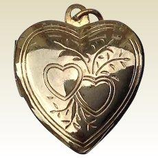 Vintage Floral Heart Gold Filled Double Photo Locket