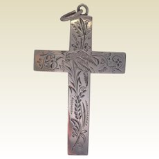 Victorian Aesthetic Period Sterling Silver Engraved Cross
