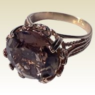 Vintage 14 K Gold Smokey Quartz Topaz Ring