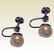 Vintage Sterling Silver 8 MM Cultured Pearl Earrings
