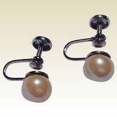 Vintage Sterling Silver 8 MM Cultured Pearl Earrings