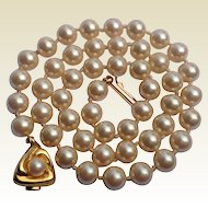 """Vintage Faux Pearl 18"""" Knotted Necklace"""