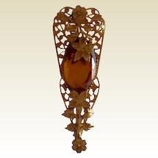Art Deco Floral Gold Tone Metal Topaz Paste Brooch