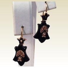 Victorian 14 K Gold  Black Jet Seed Pearl Earrings