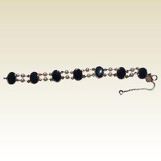 Vintage 12 K Gold Filled Onyx Faux Pearl Bracelet