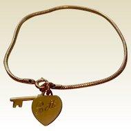 Vintage Forstier 12 K Gold Filled Key To My Heart Bracelet