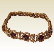 Vintage Trifari Gold Tone Metal Amber Rhinestone Flexible Link Bracelet