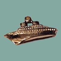 Vintage Gold Tone Metal Ship Charm