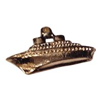 Vintage Gold Tone Metal Ship Charm