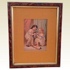 Victorian Framed Chromolithograph Picture Children & Kitten