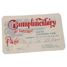 Vintage 1923 Complimentary Pass South Louisiana Fair