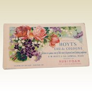 Vintage Hoyt'S Eau De Cologne Advertising Cardboard Ink Blotter