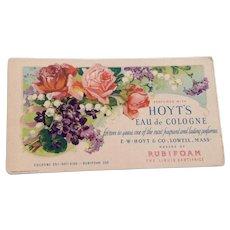 Vintage Hoyt'S Eau De Cologne Advertising Cardboard Ink Blotter