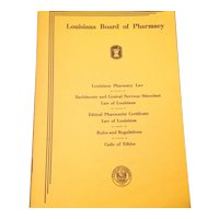 Vintage 1957 Louisiana Board Of Pharmacy Code Of Ethics Booklet