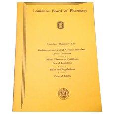 Vintage 1957 Louisiana Board Of Pharmacy Code Of Ethics Booklet