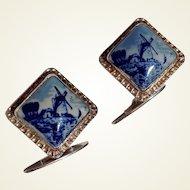 Delft 835 Silver Blue & White Cuff Links By G. J. Van Den Bergh Jr.