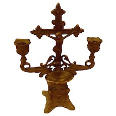 Vintage Gold  Gilt Table Top Crucifix Candle Holder Holy Water Font