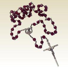 Italian Silvertone Metal & Garnet Glass Bead Rosary