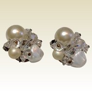 Vintage Faux Pearl Clip Earrings