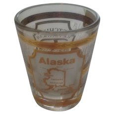 Vintage 1980's Alaska  22 K Gold Overlay Glass Jigger