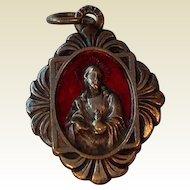 Vintage Italian Silver Tone Red Enamel Miraculous Medal