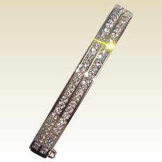 Vintage Gold Tone Metal Swarovski Crystal Bangle Bracelet