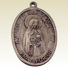 Sterling Silver Our Lady Of The Rosary Of Fatima Pray For Us Medal